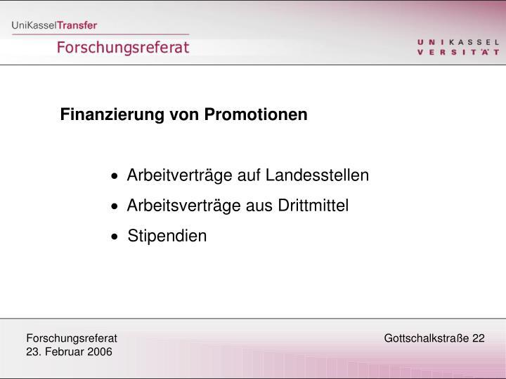 Finanzierung von Promotionen