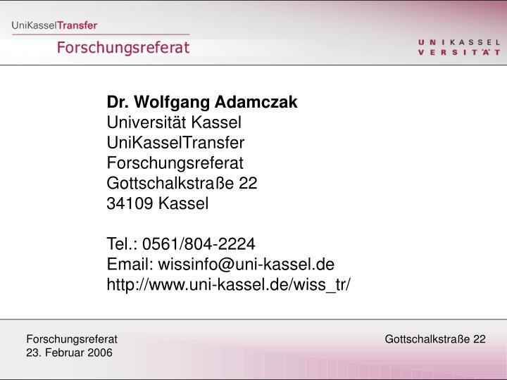 Dr. Wolfgang Adamczak