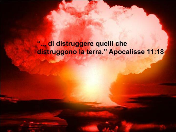 """""""... di distruggere quelli che distruggono la terra."""" Apocalisse 11:18"""
