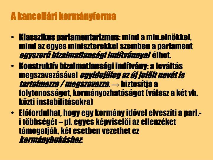 A kancellári kormányforma