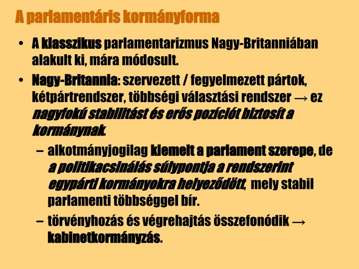 A parlamentáris kormányforma