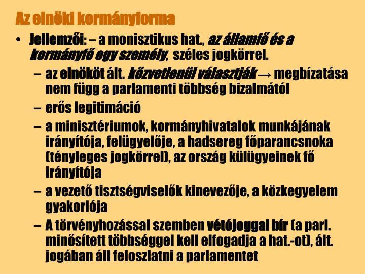 Az elnöki kormányforma
