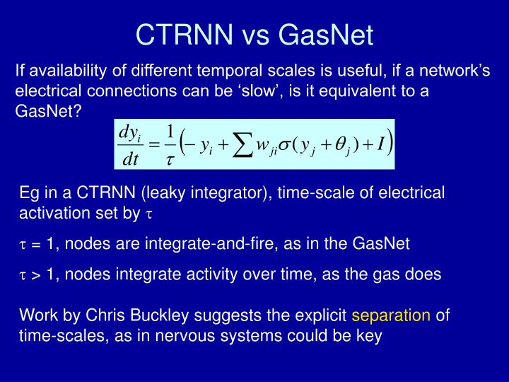 CTRNN vs GasNet
