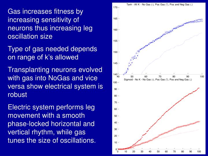 Gas increases fitness by increasing sensitivity of neurons thus increasing leg oscillation size