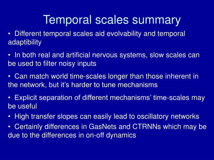 Temporal scales summary