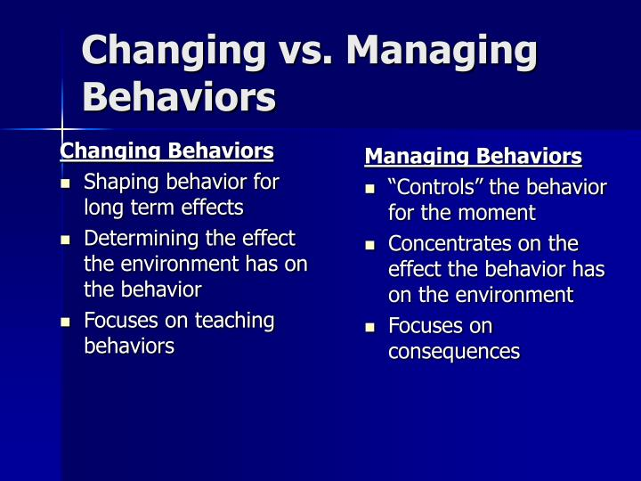 Managing Behaviors
