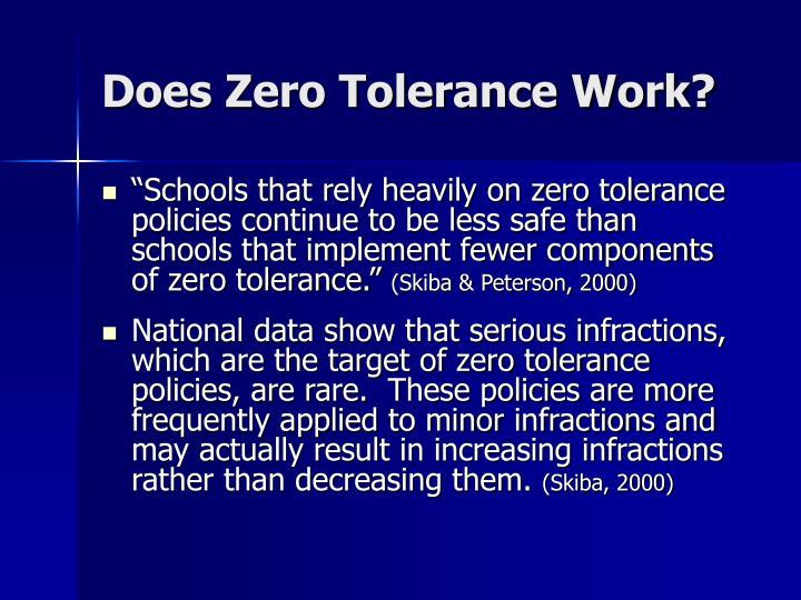 Does Zero Tolerance Work?