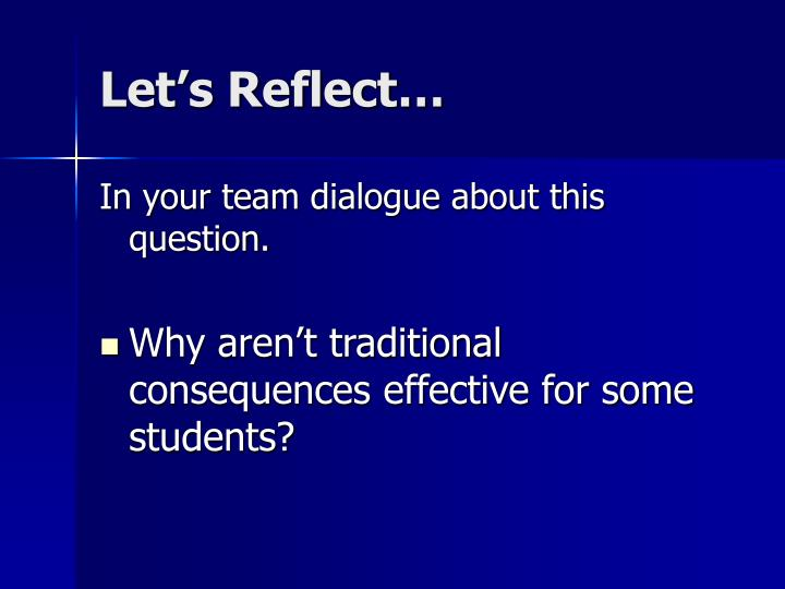 Let's Reflect…