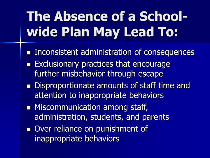 The Absence of a School-wide Plan May Lead To: