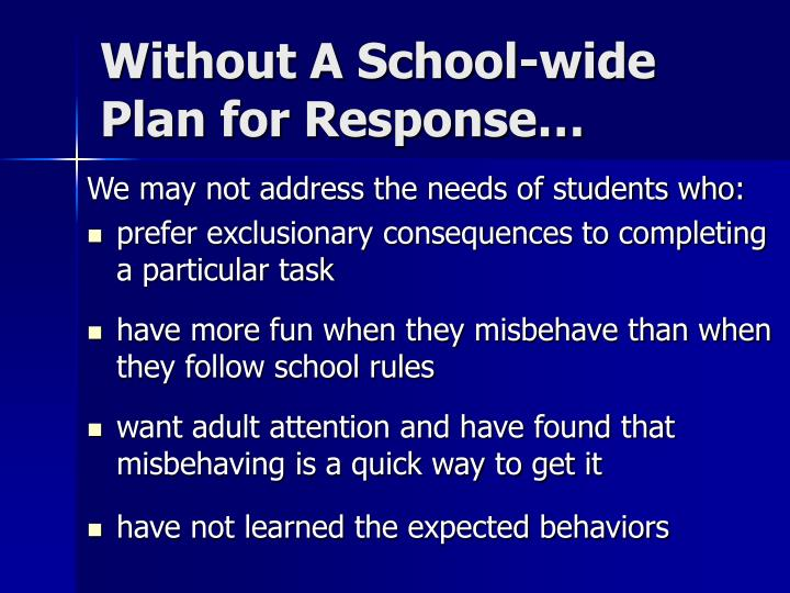 Without A School-wide Plan for Response…