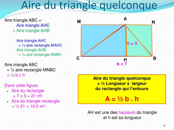 Aire du triangle quelconque