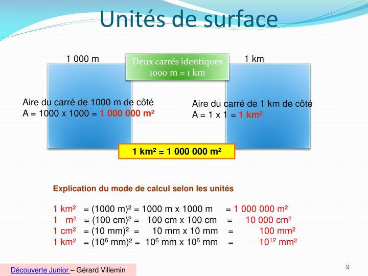 Unités de surface