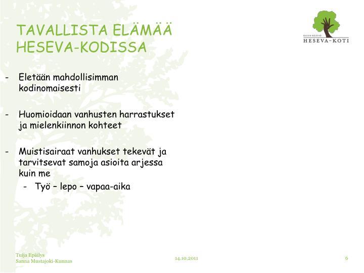TAVALLISTA ELÄMÄÄ
