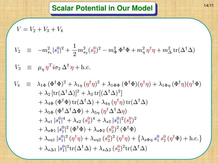 Scalar Potential in Our Model