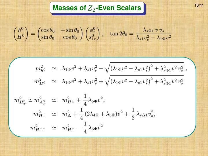Masses of     -Even Scalars