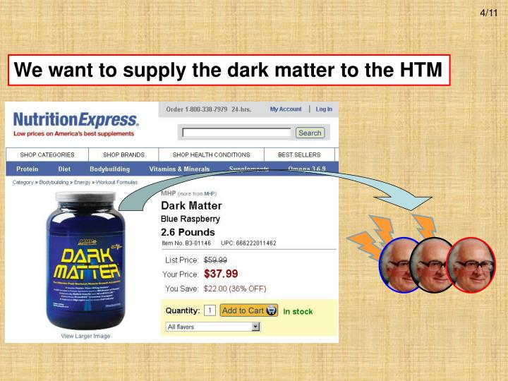 We want to supply the dark matter to the HTM