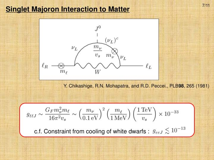 Singlet Majoron Interaction to Matter