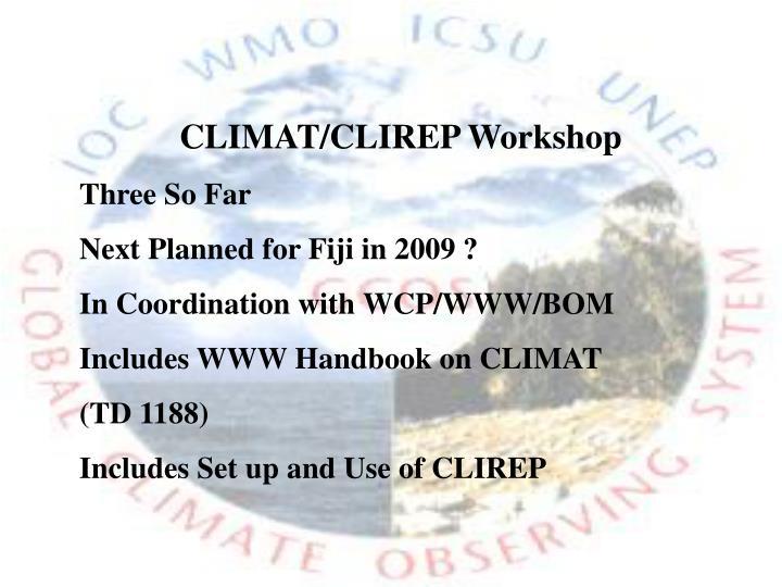 CLIMAT/CLIREP Workshop