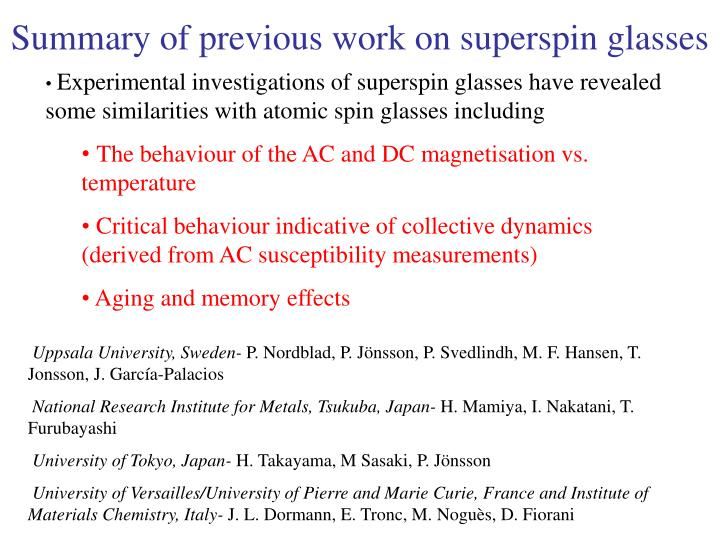 Summary of previous work on superspin glasses