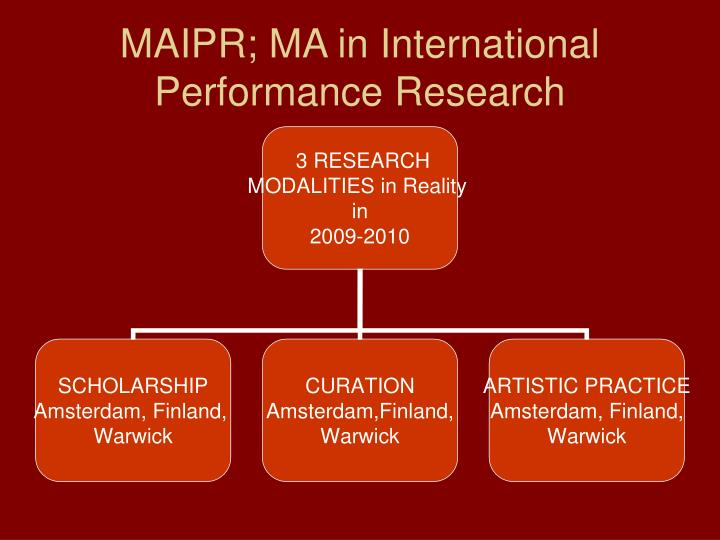 MAIPR; MA in International Performance Research