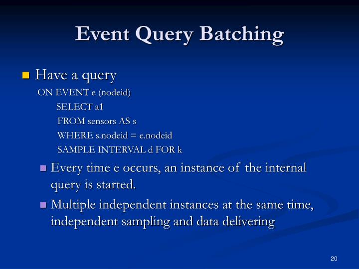 Event Query Batching