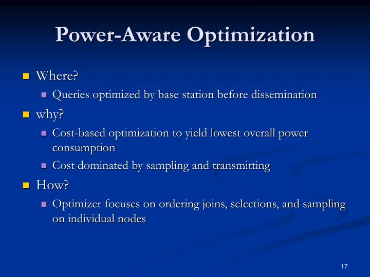 Power-Aware Optimization