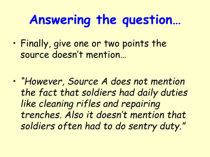 Answering the question…