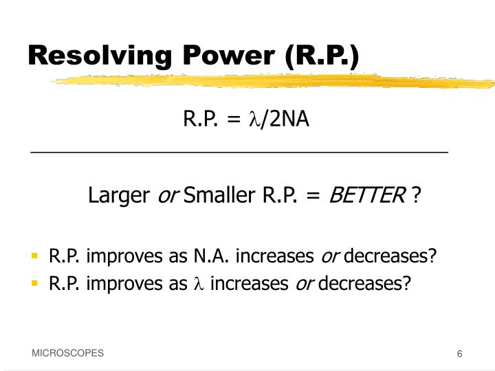 Resolving Power (R.P.)