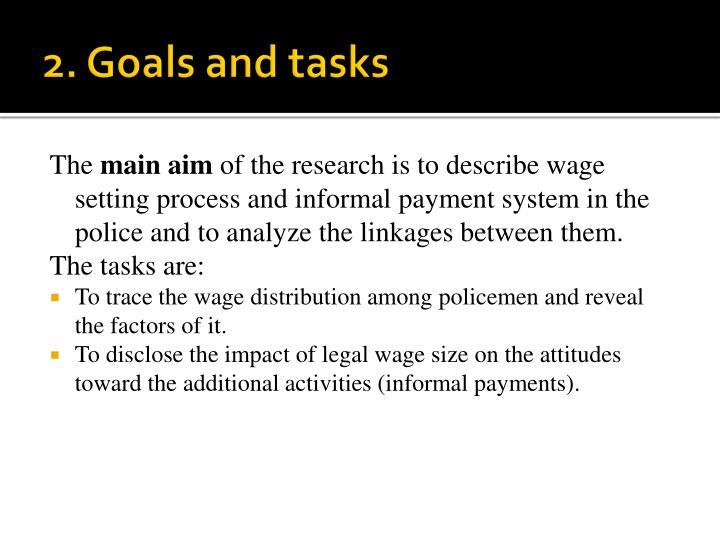 2. Goals and tasks