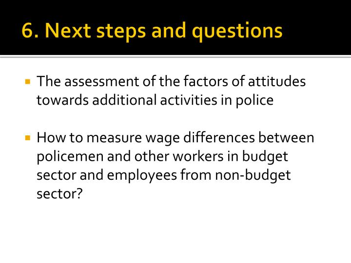 6. Next steps and questions