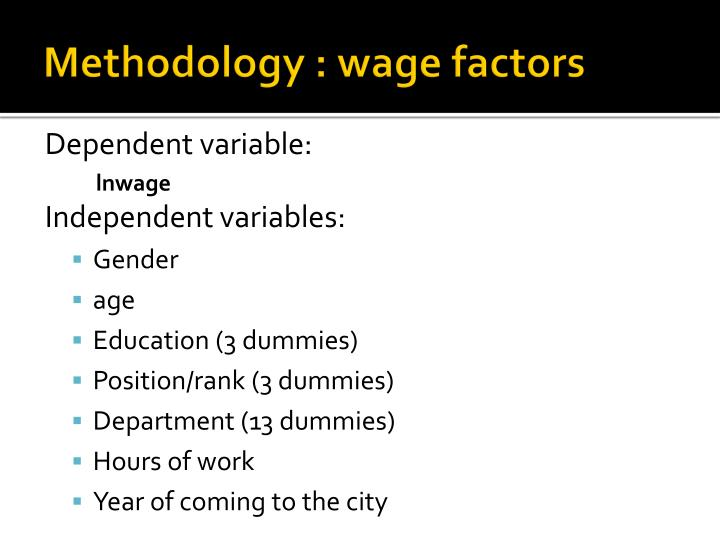 Methodology : wage factors