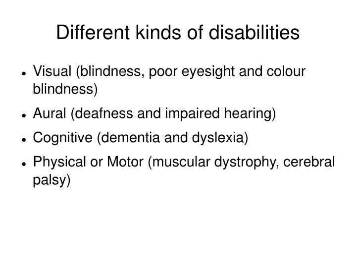 Different kinds of disabilities