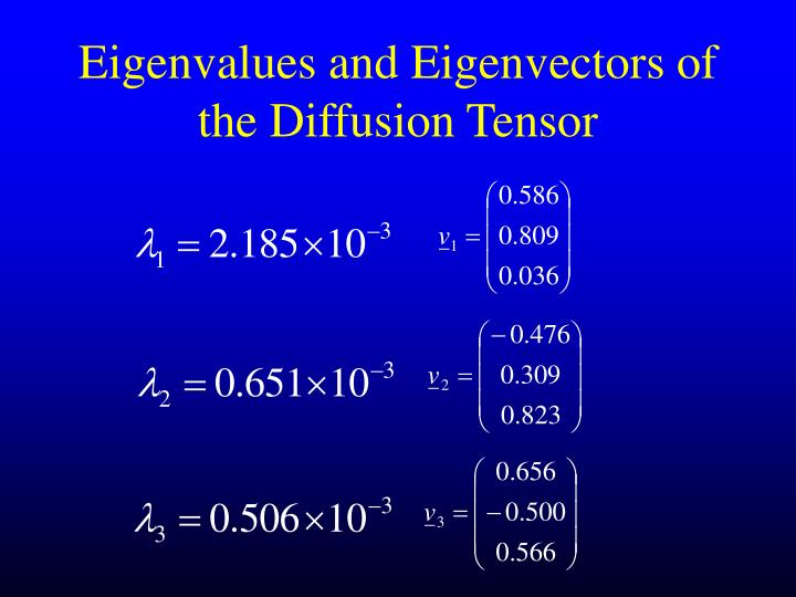 Eigenvalues and Eigenvectors of the Diffusion Tensor