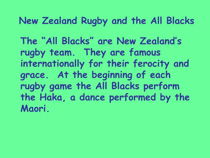 New Zealand Rugby and the All Blacks