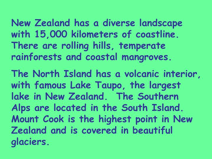 New Zealand has a diverse landscape with 15,000 kilometers of coastline. There are rolling hills, temperate rainforests and coastal mangroves.