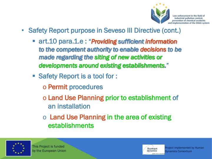 Safety Report purpose in Seveso III Directive (cont.)