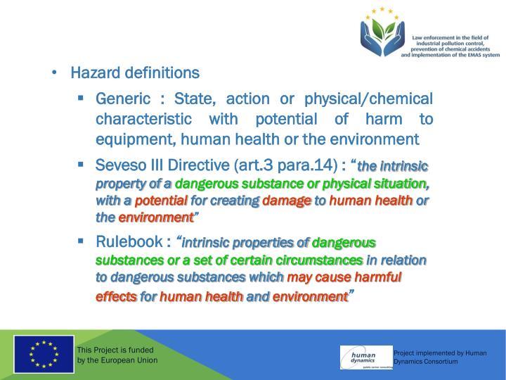 Hazard definitions