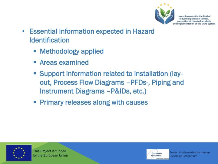 Essential information expected in Hazard Identification