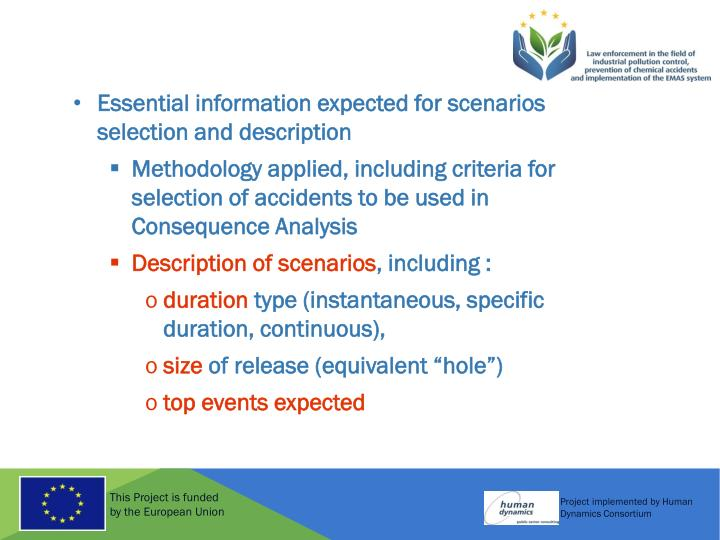 Essential information expected for scenarios selection and description