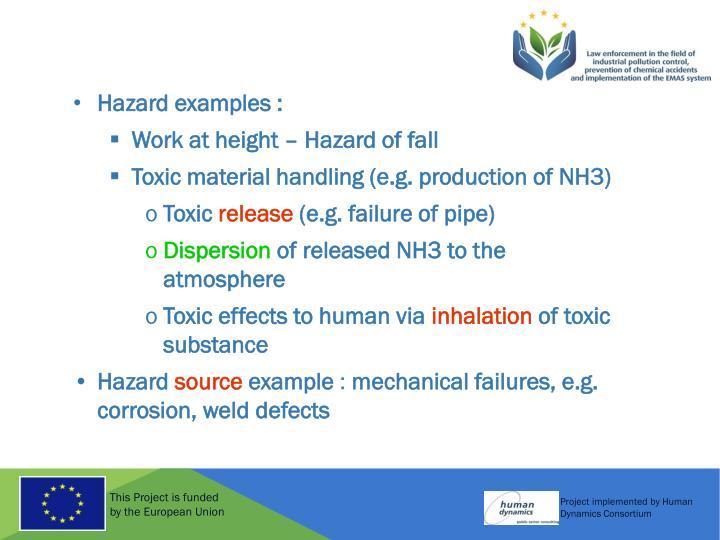 Hazard examples :