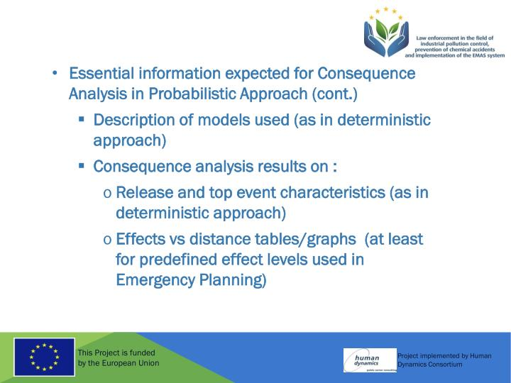 Essential information expected for Consequence Analysis in Probabilistic