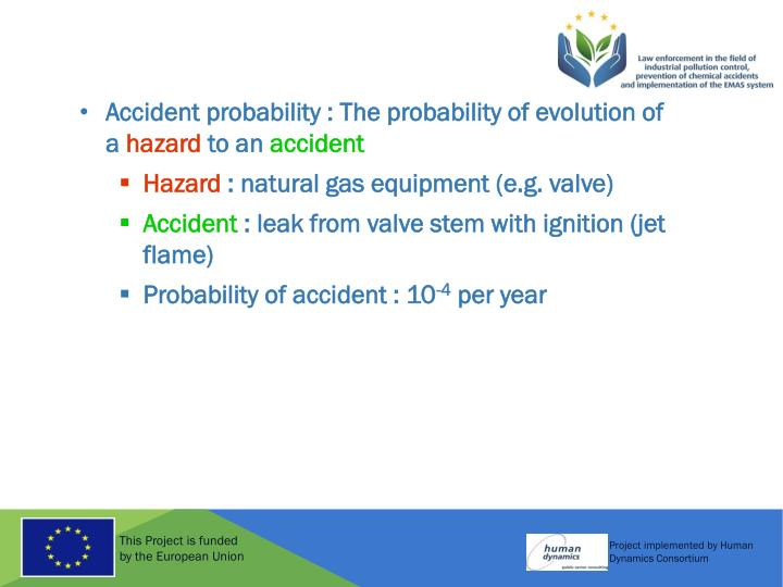 Accident probability : The probability of evolution of a