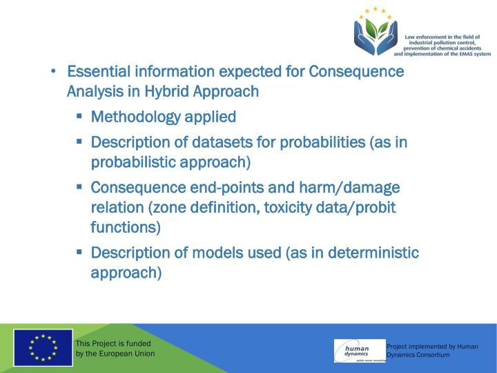 Essential information expected for Consequence Analysis in Hybrid Approach