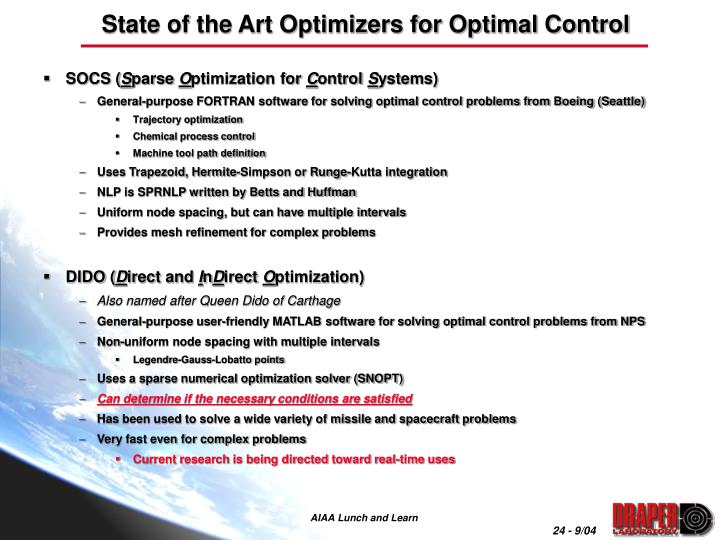 State of the Art Optimizers for Optimal Control