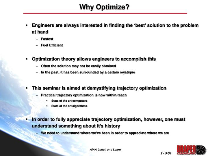 Why optimize