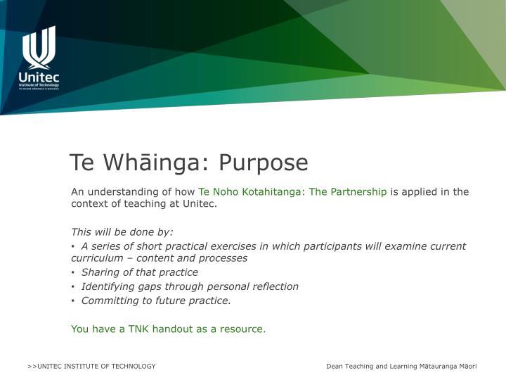 Te Whāinga: Purpose