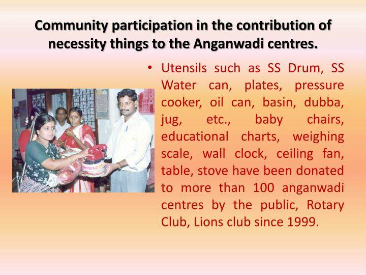 Community participation in the contribution of necessity things to the