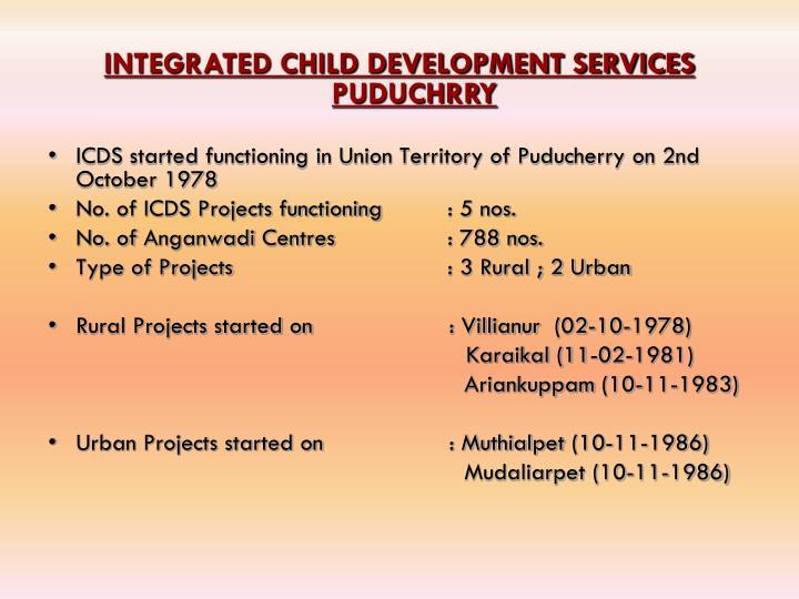 INTEGRATED CHILD DEVELOPMENT SERVICES PUDUCHRRY