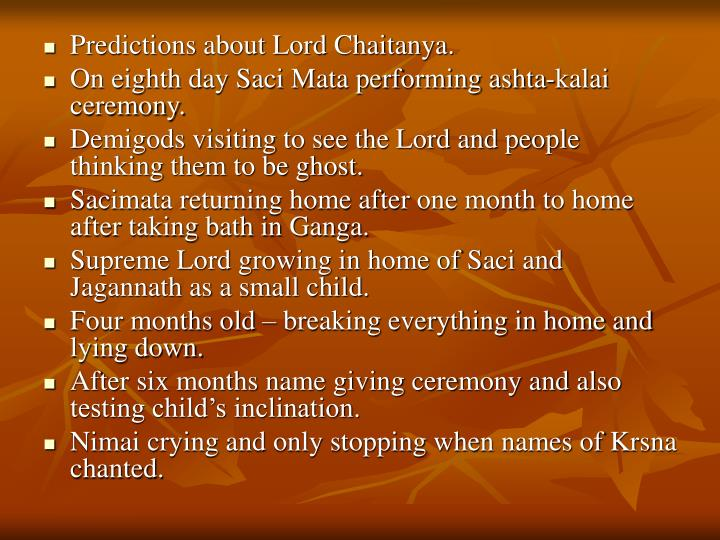 Predictions about Lord Chaitanya.