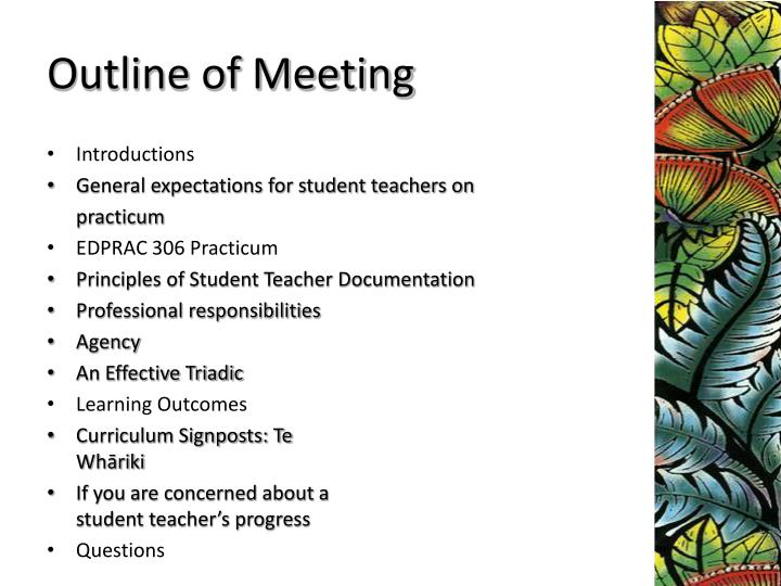 Outline of Meeting